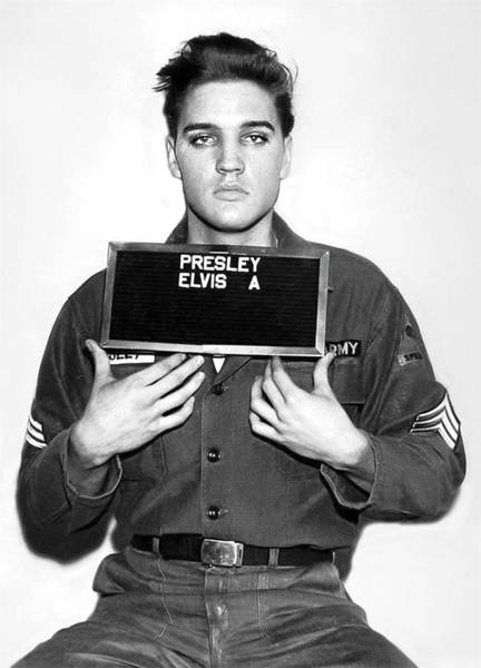 Photograph - Elvis Army Mugshot 1960 by Doc Braham