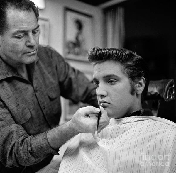 Apron Photograph - Elvis Gets Make-up Backstage At The Ed by Cbs Photo Archive