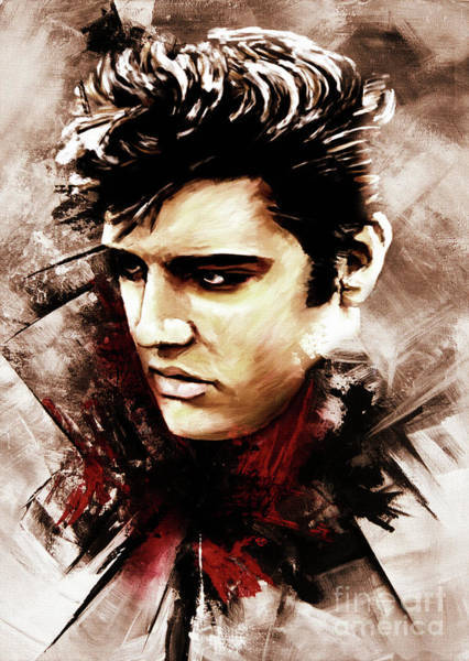 Wall Art - Painting - Elvis Portrait 01 by Gull G