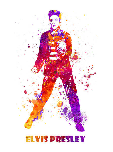 Blob Painting - Elvis Presley Dancing Jailhouse Rock Watercolor Splatter 03 by JESP Art and Decor