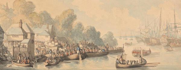 Wall Art - Drawing - Embarkation At Southampton, June 20th 1794 by Thomas Rowlandson