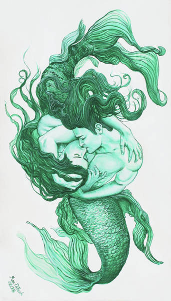 Embracing Mermen Art Print