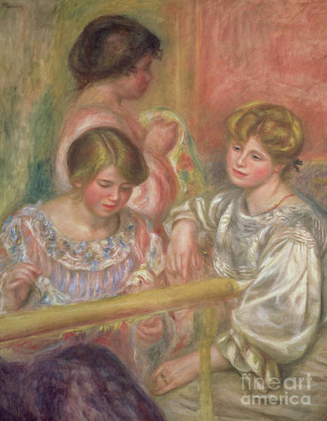 Embroidery Painting - Embroiderers, Circa 1904 by Pierre Auguste Renoir