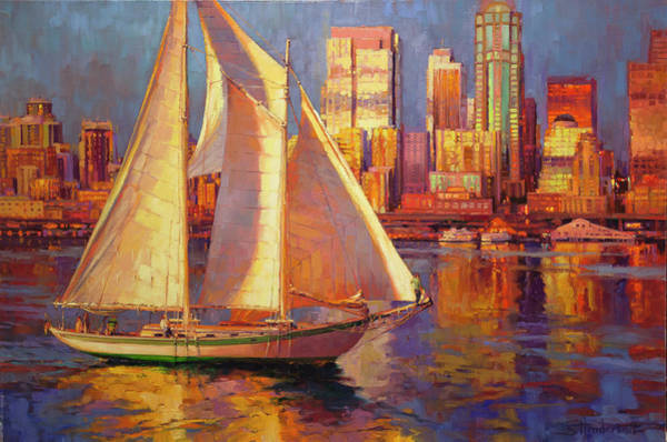 Elliot Bay Wall Art - Painting - Emerald City Twilight by Steve Henderson