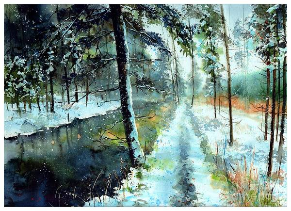 Birches Painting - Emerald Winter Scene by Suzann's Art