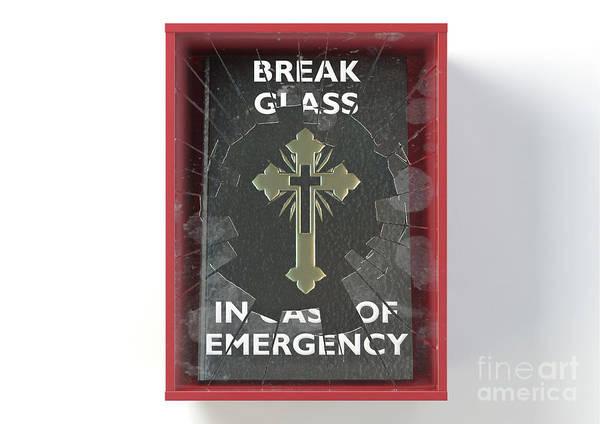 Wall Art - Digital Art - Emergency Red Box With Bible by Allan Swart