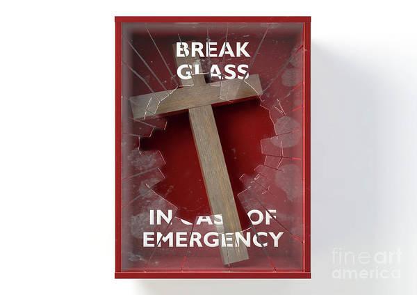 Wall Art - Digital Art - Emergency Red Box With Crucifix by Allan Swart
