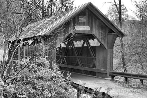 Photograph - Emily's Covered Bridge Black And White by Adam Jewell