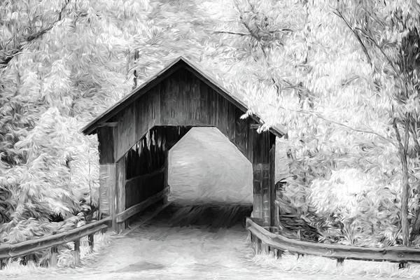 Digital Art - Emilys Covered Bridge In Black And White by Jeff Folger