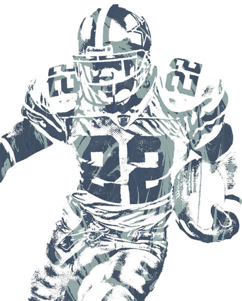 Wall Art - Mixed Media - Emmitt Smith Dallas Cowboys Pixel Art 10 by Joe Hamilton