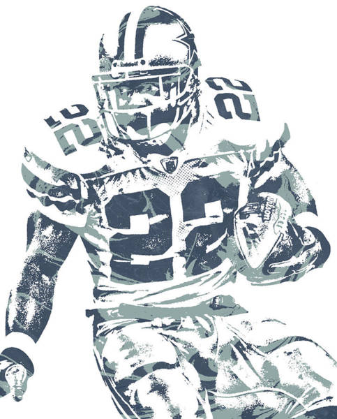 Wall Art - Mixed Media - Emmitt Smith Dallas Cowboys Pixel Art 11 by Joe Hamilton
