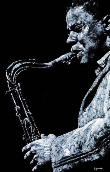 Wall Art - Painting - Emotional Sax by Richard Young
