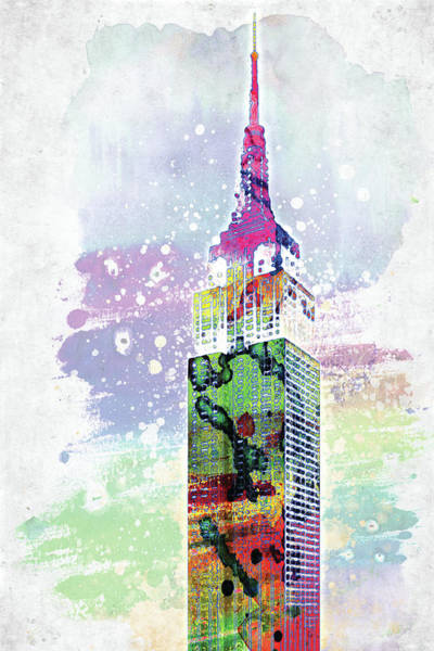Empire State Building Digital Art - Empire State Building Colorful Watercolor by Mihaela Pater