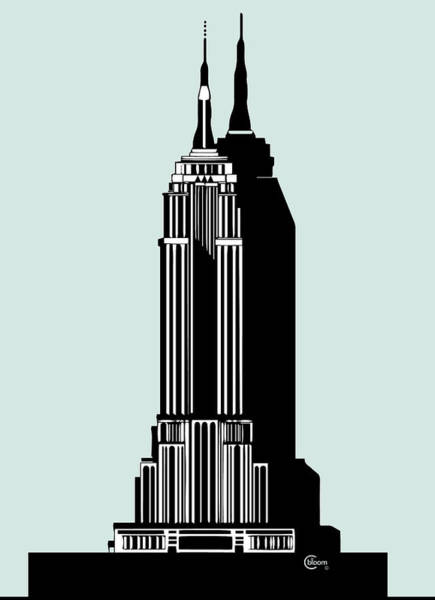 Painting - Empire State Building Deco Minimal by Cecely Bloom