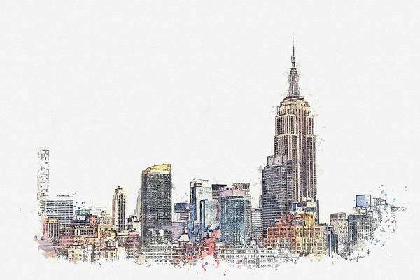 Manhattan Skyline Painting - Empire State, New York, United States Watercolor By Ahmet Asar by Ahmet Asar