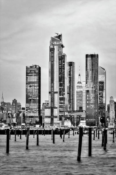 Photograph - Empire State Nyc Hudson Yards  Bw by Susan Candelario