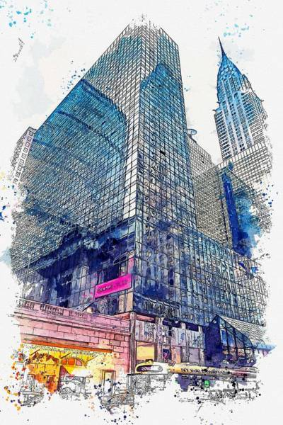 Manhattan Skyline Painting - Empire State, Street View -  Watercolor By Adam Asar by Celestial Images