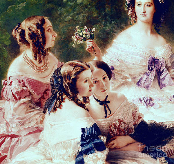 Wall Art - Painting - Empress Eugenie And Her Ladies In Waiting, Detail Of The Princess Of Essling by Franz Xaver Winterhalter