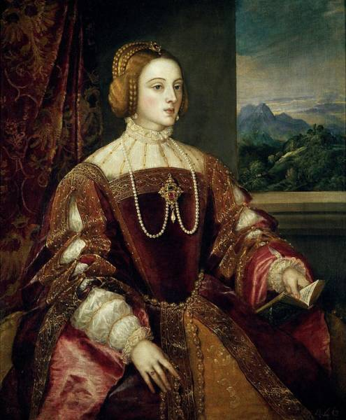 Plaits Painting - 'empress Isabel Of Portugal', 1548, Italian School, Oil On Canvas,... by Titian -c 1485-1576-