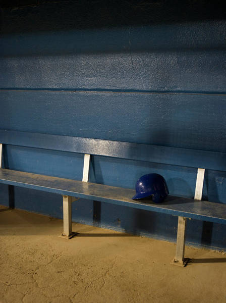 Team Sport Photograph - Empty Baseball Dugout With Helmet by Whit Preston
