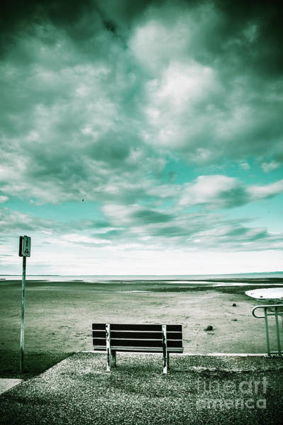 Atmospheric Photograph - Empty Beach Bench by Jorgo Photography - Wall Art Gallery