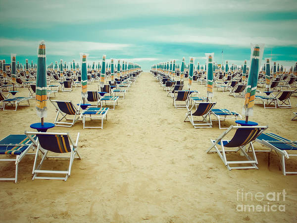 Empty Beach Scenery With Deckchairs And Art Print