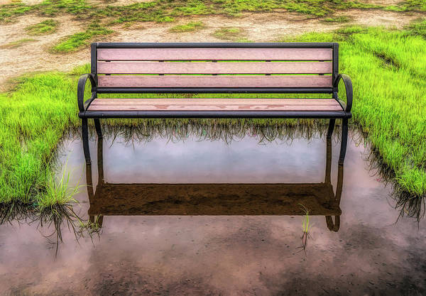 Photograph - Empty Bench In Flood Zone by Gary Slawsky
