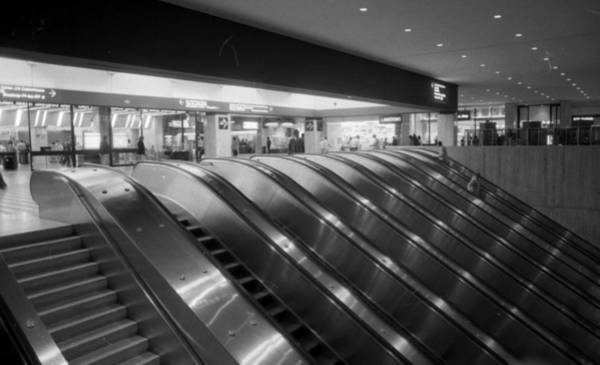 Wall Art - Photograph - Empty Escalators Under The World Trade by New York Daily News Archive