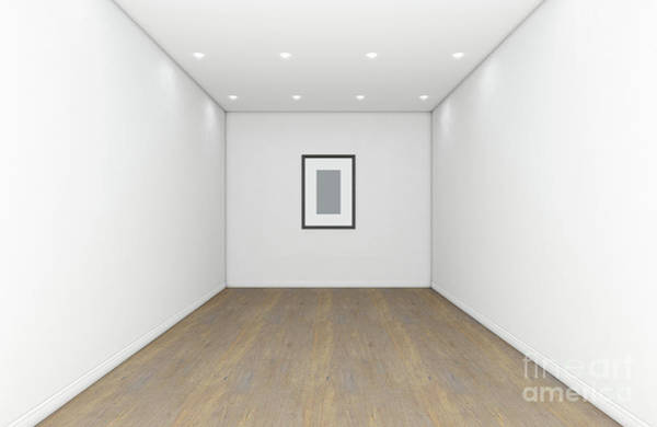 Wall Art - Digital Art - Empty Gallery Room And Picture by Allan Swart