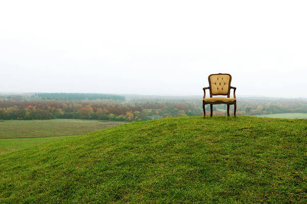 Armchair Photograph - Empty Old Chair On Hill by Mikkelwilliam