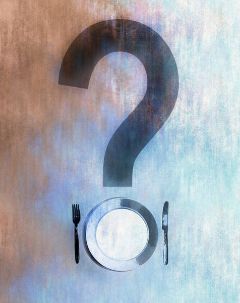 Wall Art - Photograph - Empty Plate Forming Question Mark by Ikon Images