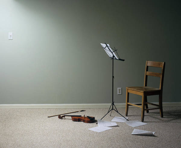 Sheet Music Photograph - Empty Room With Chair, Violin And Sheet by Jan Stromme