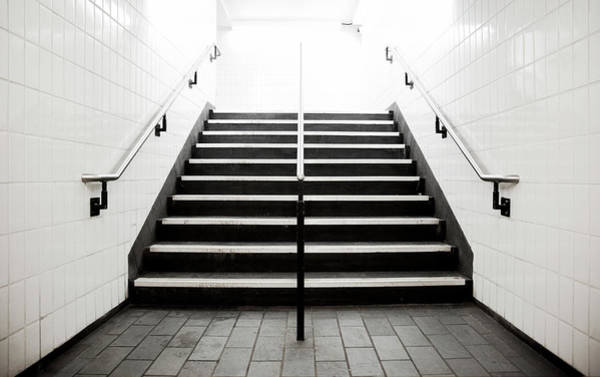 Tile Floor Wall Art - Photograph - Empty Stairwell Fading To White by Thomas Northcut