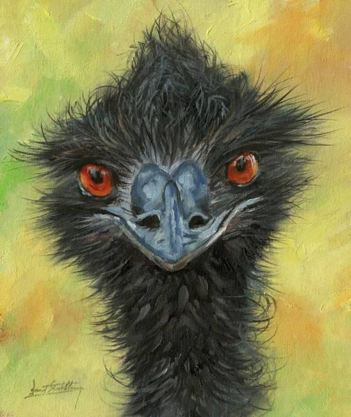 Australian Wildlife Wall Art - Painting - Emu by David Stribbling