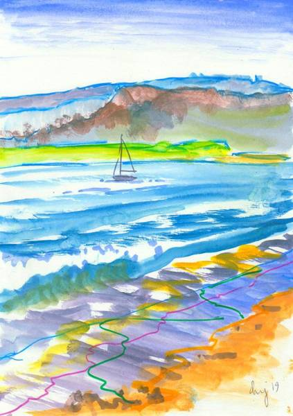 Mixed Media - En Plein Air Rive Exe Sailing Riverscape by Mike Jory