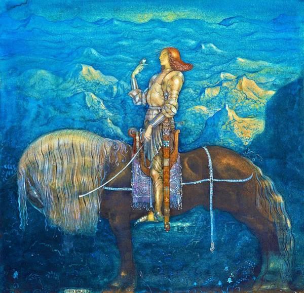 Wall Art - Painting - En Riddare Red Fram - Digital Remastered Edition by John Bauer