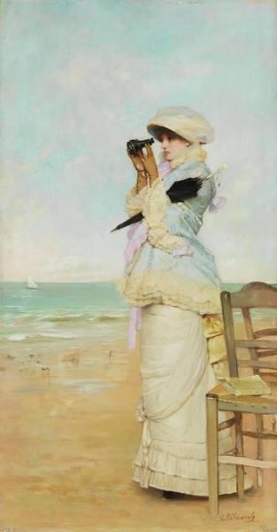 Balneario Painting - 'en Vue'. 1880. Oil On Panel. by Vicente Palmaroli y Gonzalez