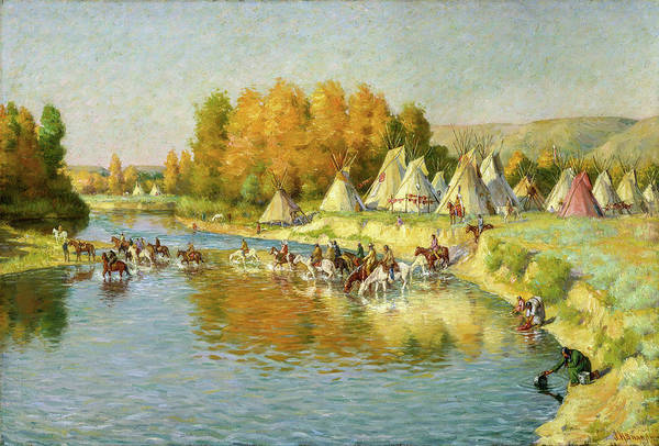 Wall Art - Painting - Encampment Of Crow Indians, 1908 by Joseph Henry Sharp