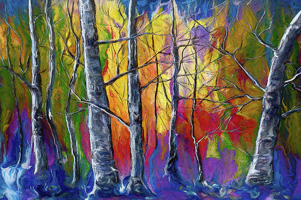 Photograph -  Enchanted Universe Sunset Forest Painting  by OLena Art - Lena Owens