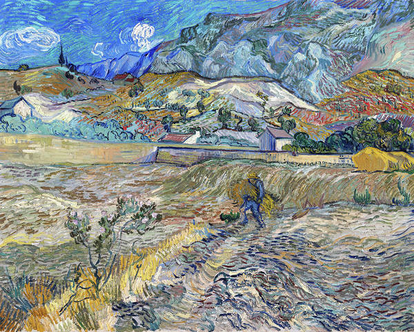 Wall Art - Painting - Enclosed Wheat Field With Peasant, Landscape At Saint-remy - Digital Remastered Edition by Vincent van Gogh