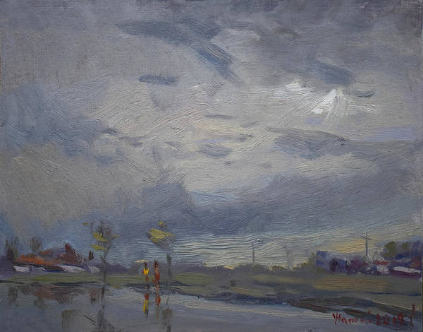 Wall Art - Painting - End Of A Gray Day by Ylli Haruni