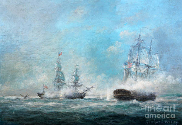 Battle Of The Atlantic Wall Art - Painting - Engagement Between The Macedonian And United States 1812 by Richard Willis