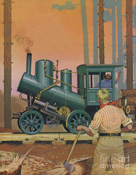 In Canada Painting - Engine Built In Nova Scotia In 1903 For Hauling Timber  by Angus McBride