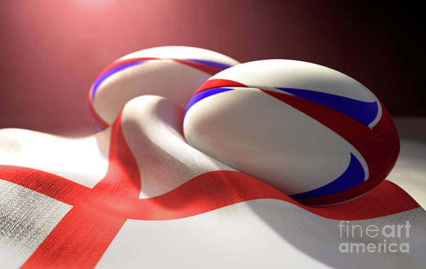 Wall Art - Digital Art - England Flag And Rugby Ball Pair by Allan Swart
