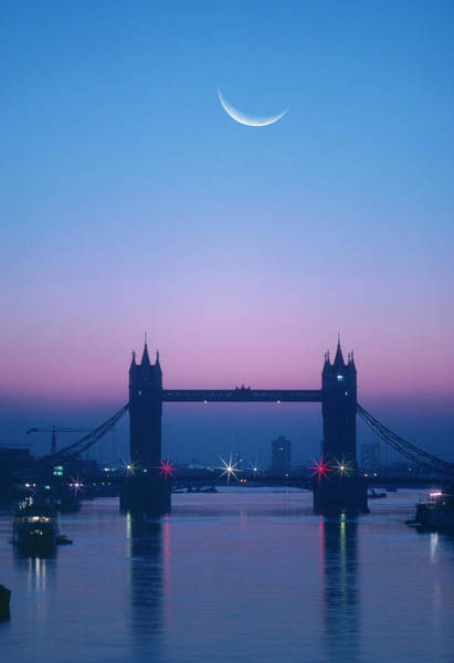 English Culture Photograph - England, London, Moon Rising Over River by Grant Faint