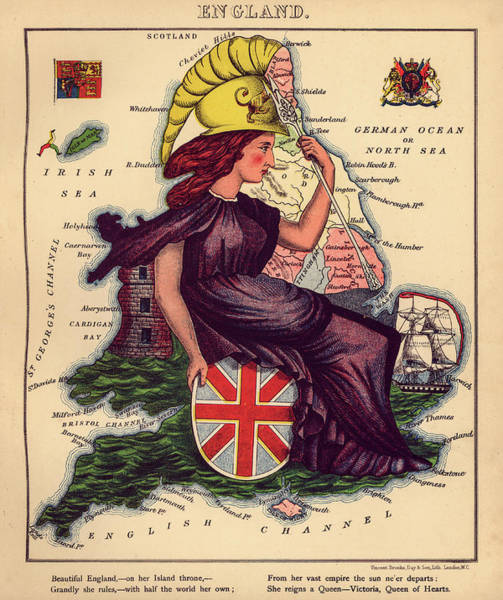 Wall Art - Painting - England, Map, 1868 by William Harvey