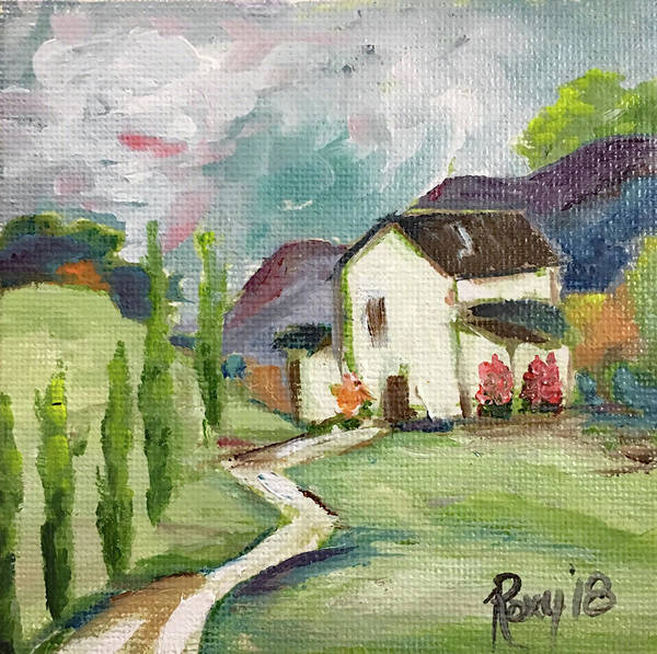 Landscape Painting - English Cottage Landscape by Roxy Rich