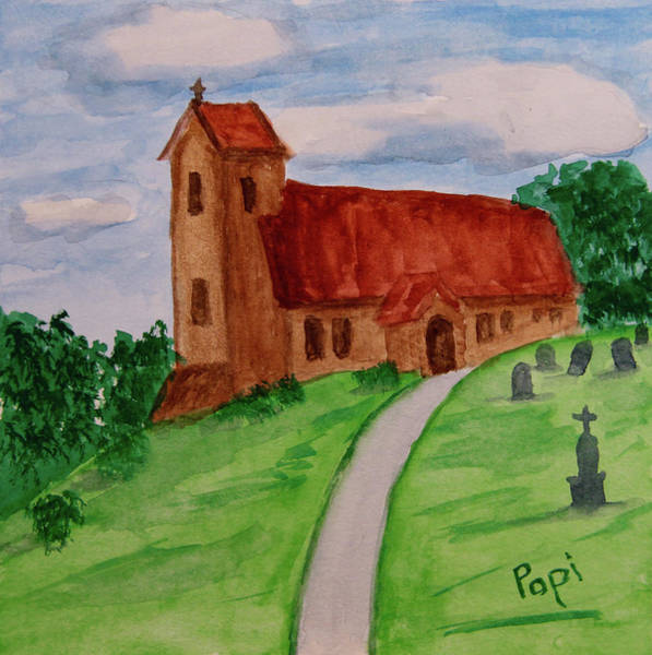 Church Yard Painting - English Country Church by Paul Anderson