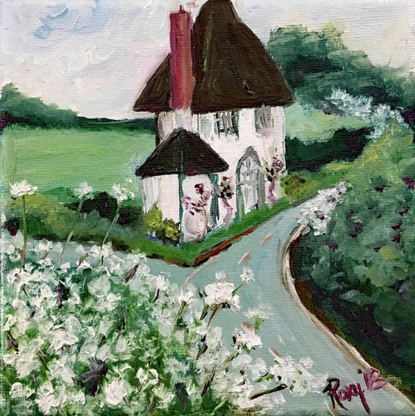 Landscape Painting - English Countryside White Cottage by Roxy Rich