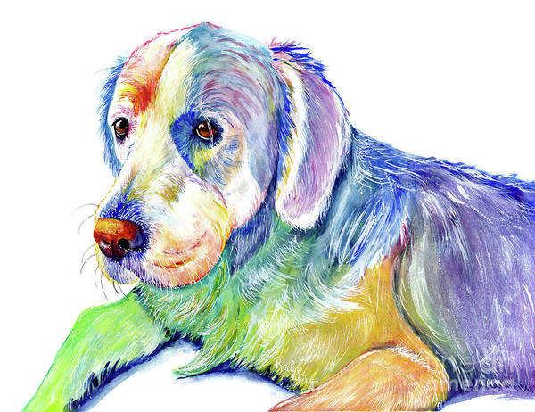 Snuggle Painting - English Cream Retriever by Raelene Vining
